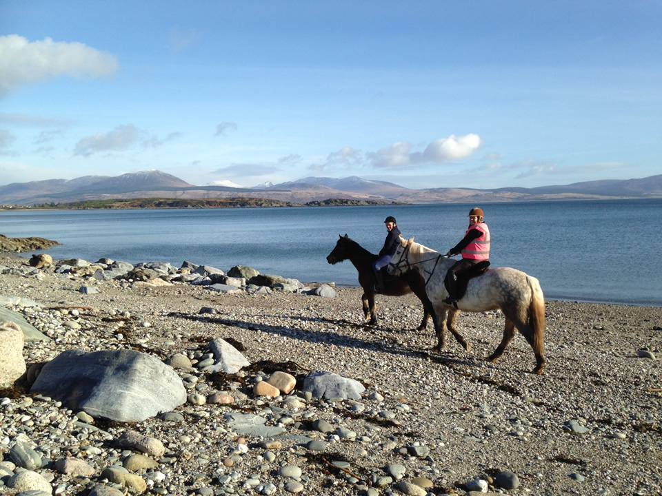 Mark Beaumont horseriding at Carradale Bay